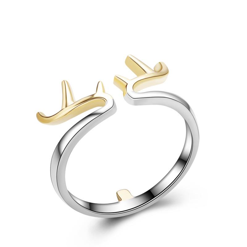 Girls Jewelry Antlers Wedding Rings Adjustable 925 Sterling Silver