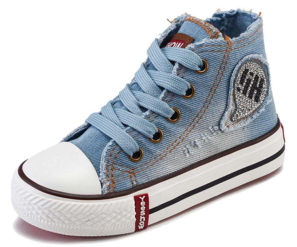 iDuoDuo Kids Cute Rhinestone High Top Denim Canvas Shoes Lace Up Sneakers (Toddler/Little Kid/Big Kid)