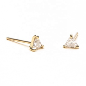 2019 minimalist jewelry fashion gold trillion diamond solitaire earrings