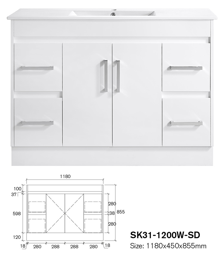 Luxury White Colour  Bathroom Frame Cabinet Furniture With Sink