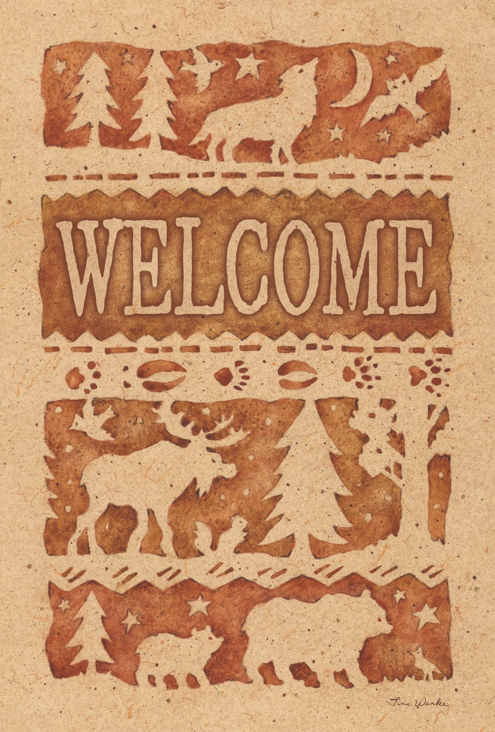 Toland Home Garden Wildlife Welcome 12.5 x 18 Inch Decorative Rustic Outdoors Forest Animal Bear Moose Wolf Garden Flag