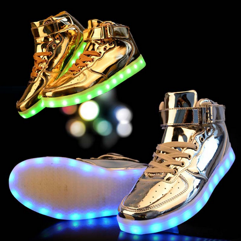 2016 New men's fashion sneakers black running shoes male lighted casual shoes LED glow shoes International brands