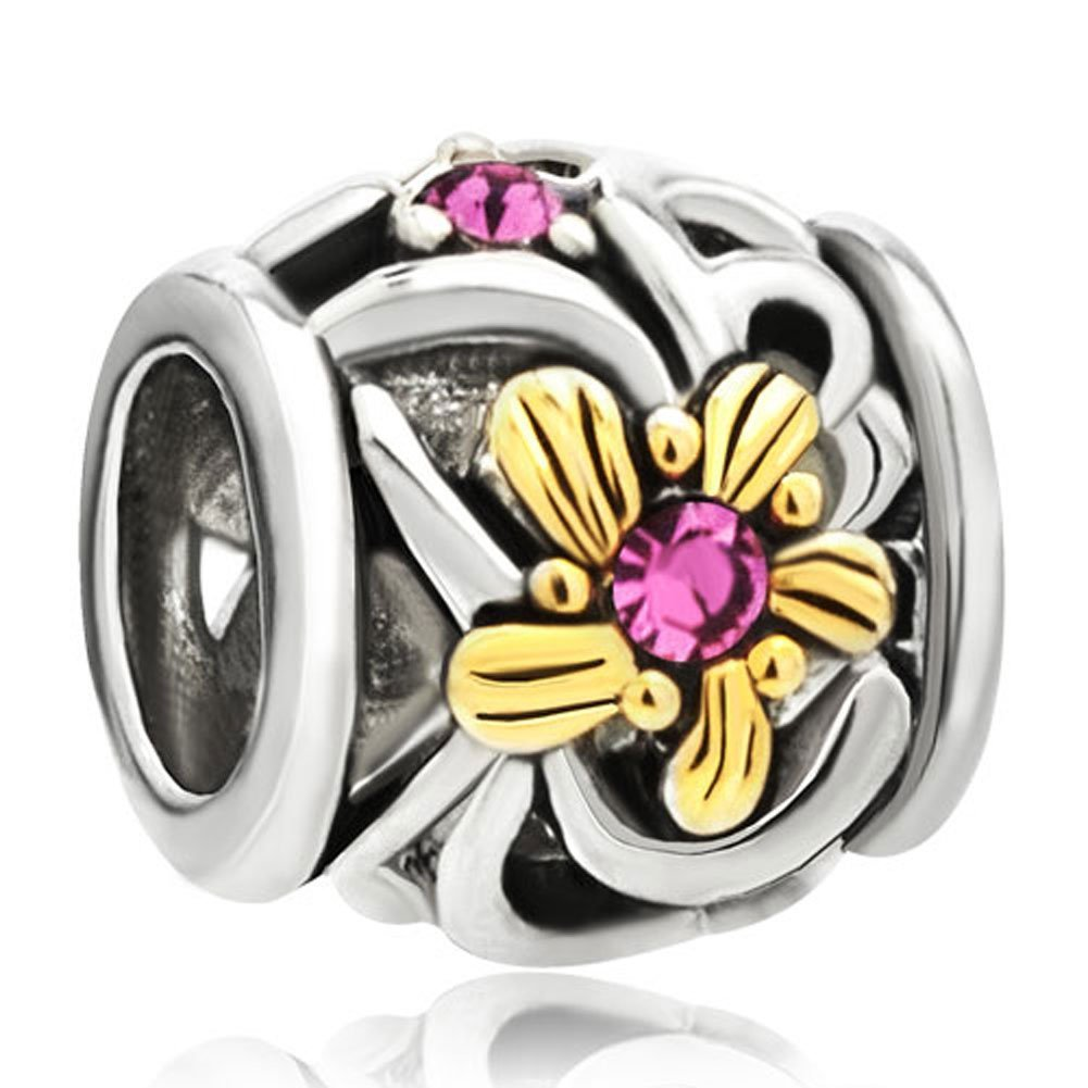 23830bbc9 Get Quotations · 22k Gold Rose Pink Crystal Diamond Accent Flower Charm  Fits Pandora Bead