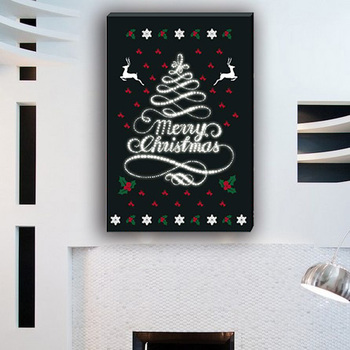 Black And White Christmas Tree Cartoon Canvas Wall Painting For