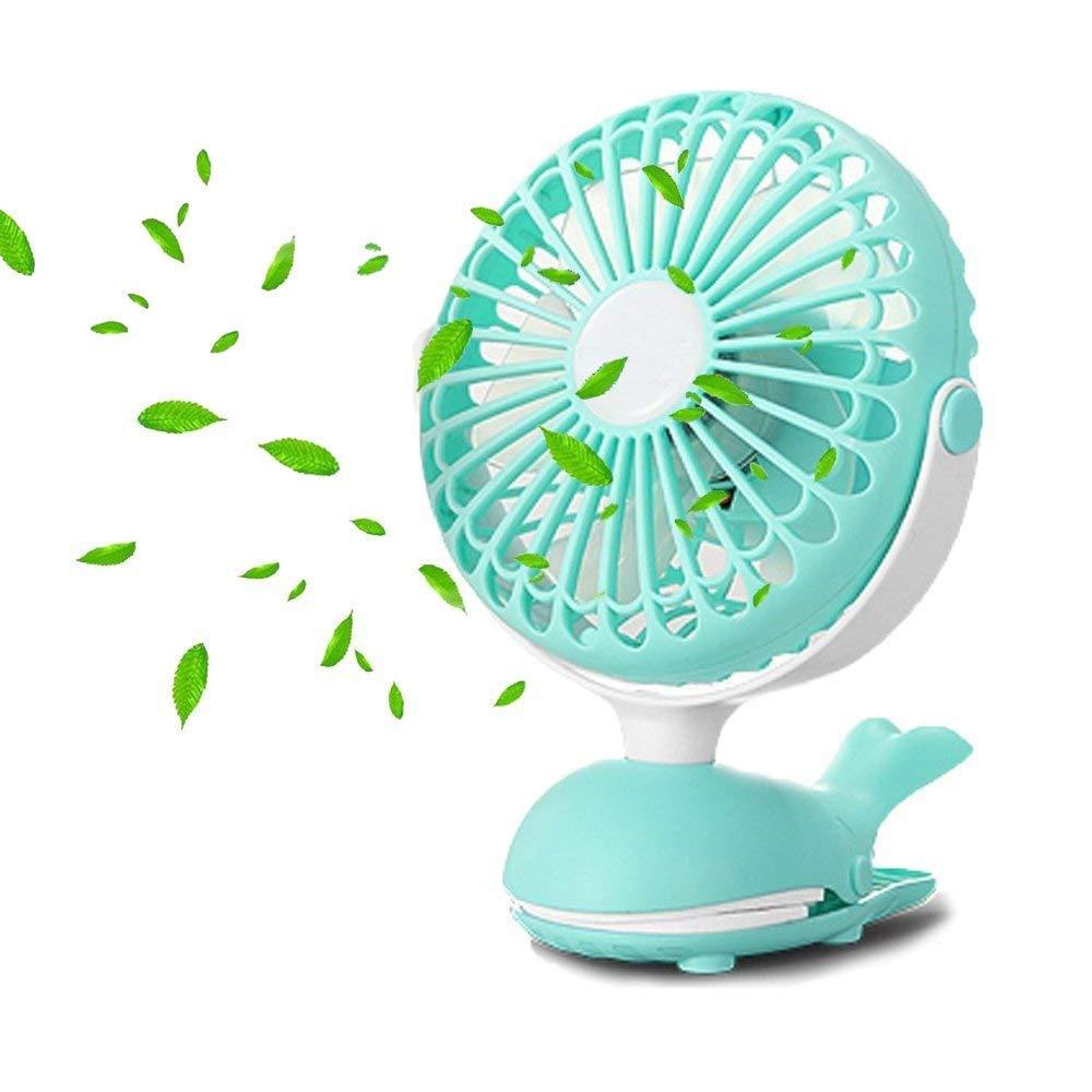 Battery Operated Clip Fan, Mini Personal Desk Fan, Stroller Fan for Baby, Portable Silent USB Fan, Rechargeable Battery Fans, Cute Design Adjustable Tilt Operation for Home, Traveling, Office (Green)