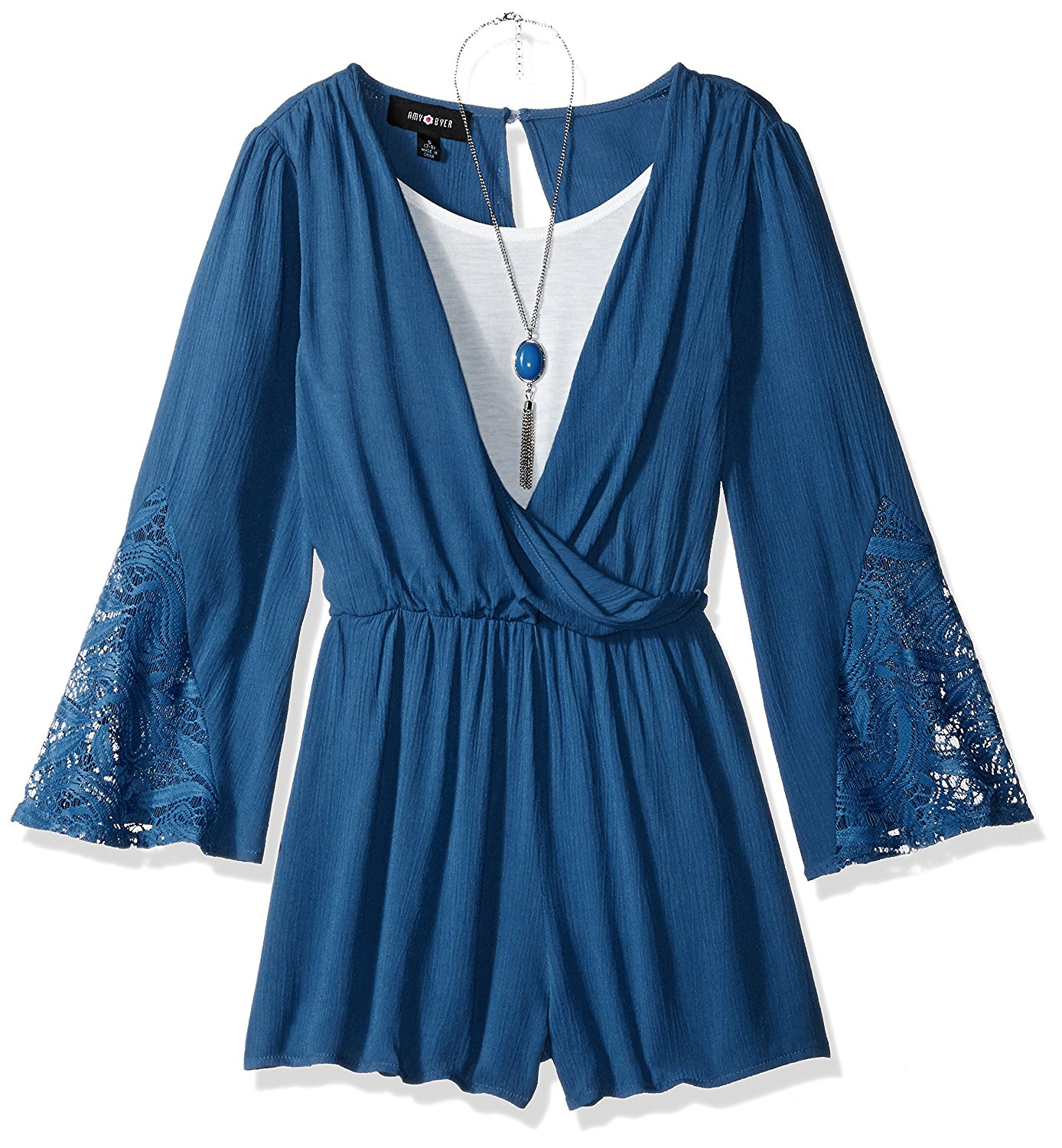 30e7e5014194 Buy Amy Byer Big Girls Bell Sleeve Romper with Lace Trim in Cheap ...