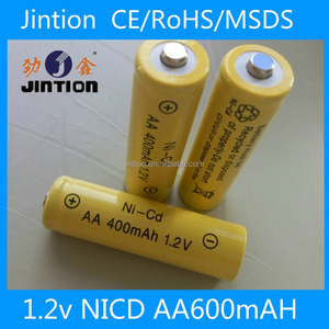 Jintion standard rechargeable Nicd AA 400mAH 1.2V civil battery cell for remote toys