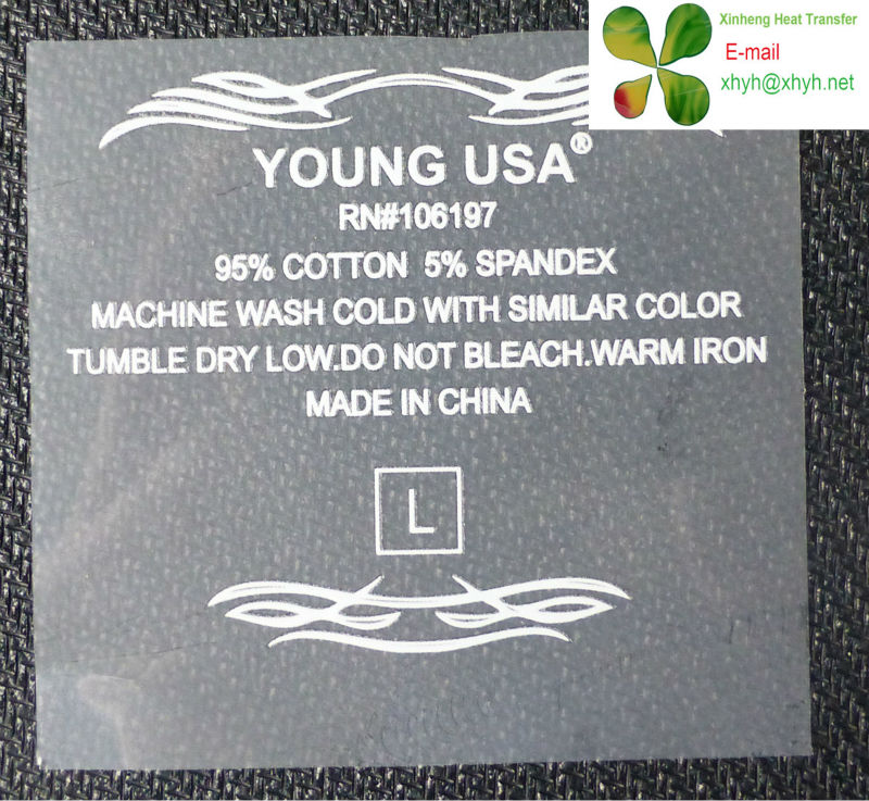 Tagless Care Label,Size Label,Wash Mark Heat Transfer On Garment ...