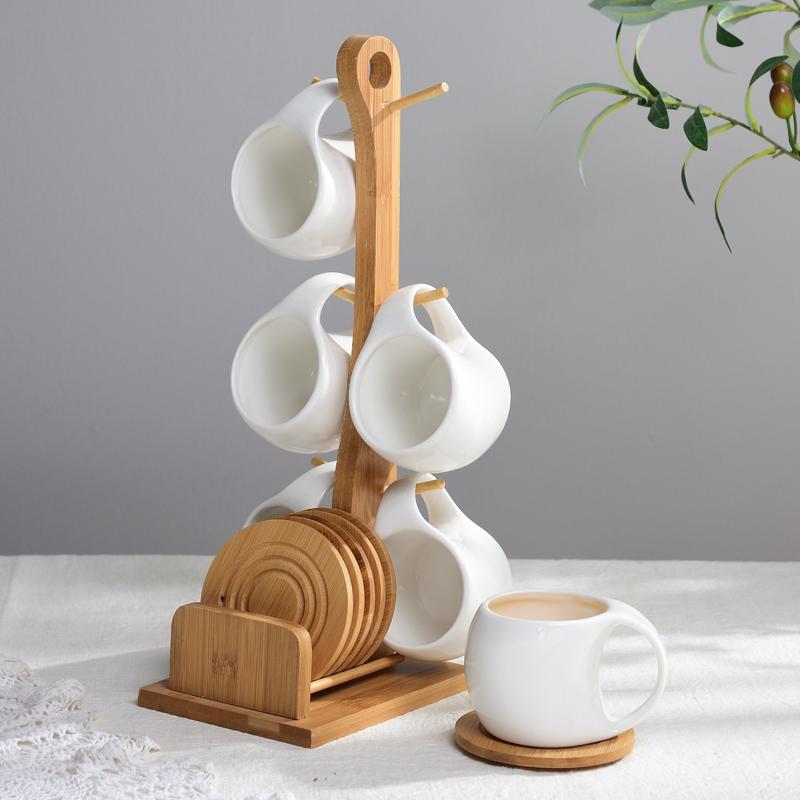 Holder Tree Wood Mug Rack Coffee Tee