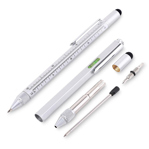 6 in 1 multi functional metal Tool Pen with Ruler,level,Stylus and Screwdriver