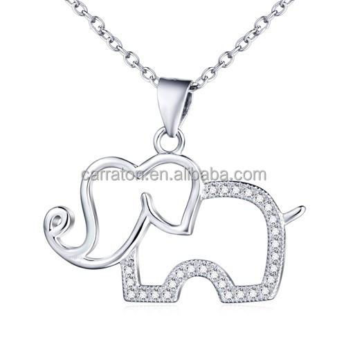 2015 fashionable rhodium plated 925 sterling silver AAA zircon elephant pendant