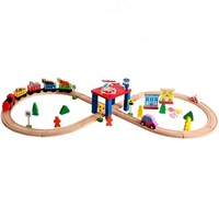 Wooden 55piece Toy Train Set for Kids