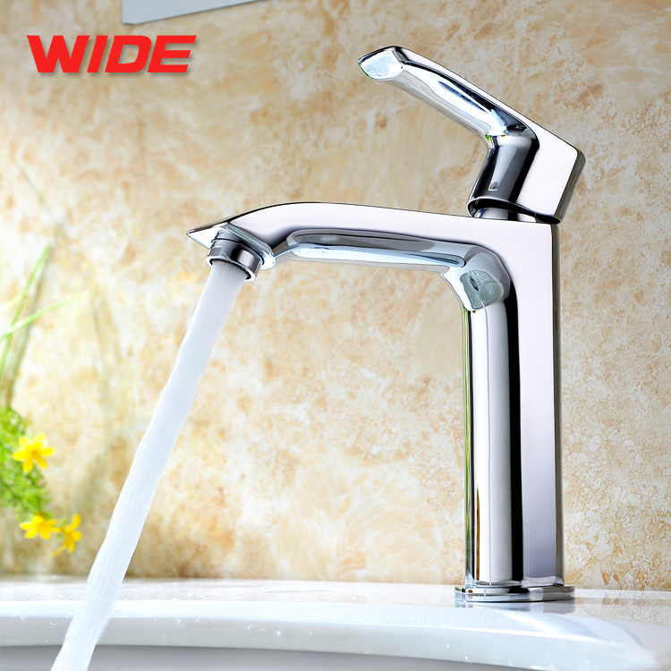 Single Lever Bathroom Chrome Plated Brass Faucet Basin Taps For