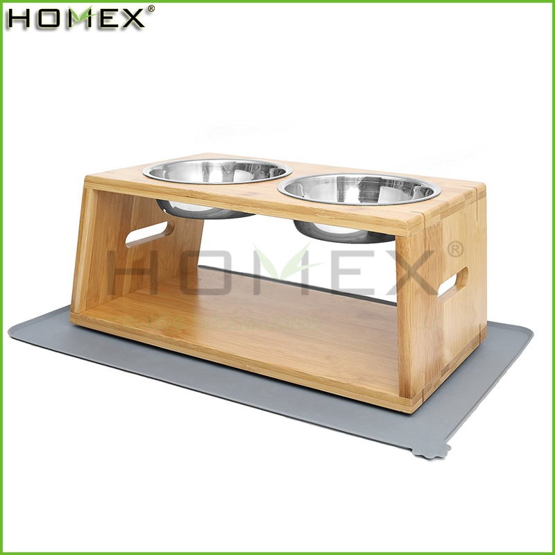 Bamboo Pet Feeder Double Dog Bowl Raised Stand with 2 Stainless Steel Bowls and Non-Slip Mat/Homex_FSC/BSCI Factory