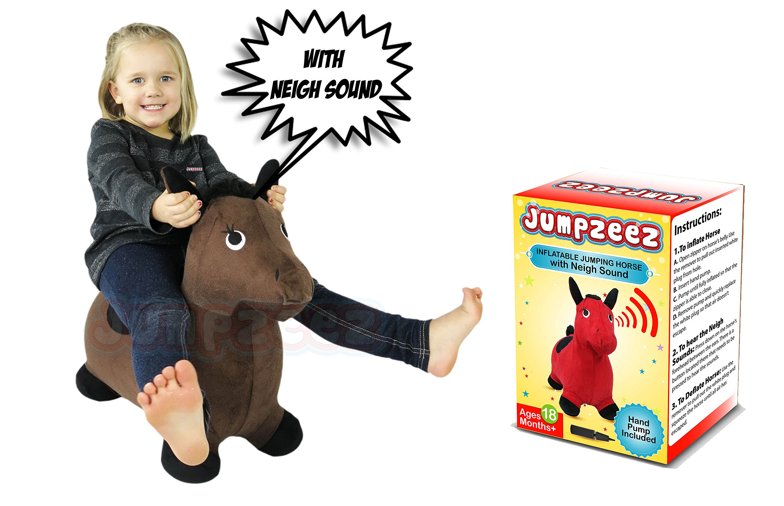 Riding Horse for Kids Inflatable Jumping Horse with Real Neigh Sounds — Hopping Horse Ride-On Toy for Toddlers — Strong Durable, Washable Fabric — 3 Unique Fun Colors — BONUS Free Pump & Plug Remover