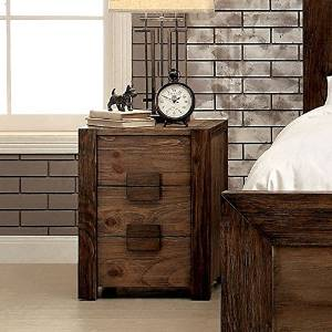 Nightstand,Nightstands With Drawers Kailee Tone 3-Drawer Nightstand Comes In Rustic Natural Tone Finish