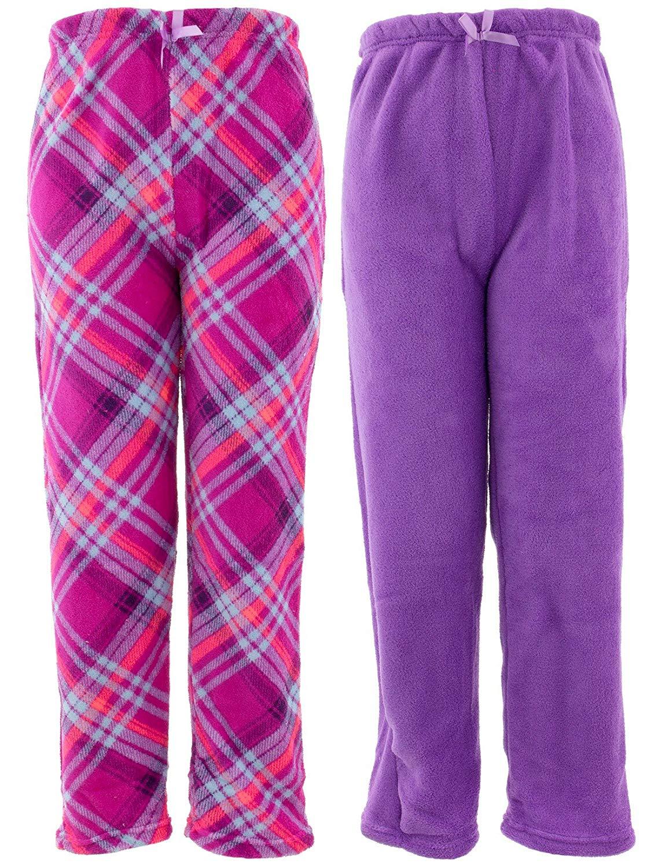 Faded Glory Girls Purple Fleece Sleep Pants Skull Pajama Bottoms Lounge