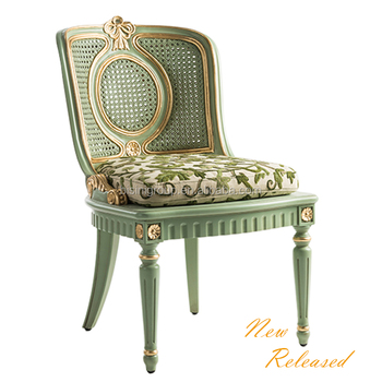 Exquisite French Provincial Designed Green Lacquer Painted Accent Chair  With Rattan Back BF12 09254b