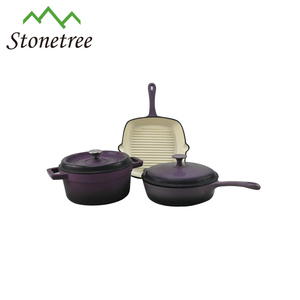 3pcs Casserole Cast Iron Enamel Cookware Set