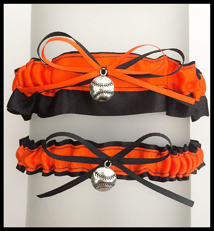SEXY Black Orange San Francisco Inspired Satin Baseball Charm Wedding Keepsake Or Bridal Garter SET
