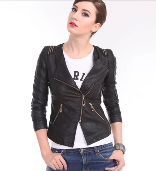 2015 new plus size small leather clothing women motorcycle leather jacket women leather coat Spring and autumn female outerwear