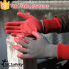 SRSAFETY 13 gauge red construction glove for workers crinkle latex gloves/safety gloves