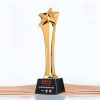 Cheap resin custom crystal gold star trophty for business gift