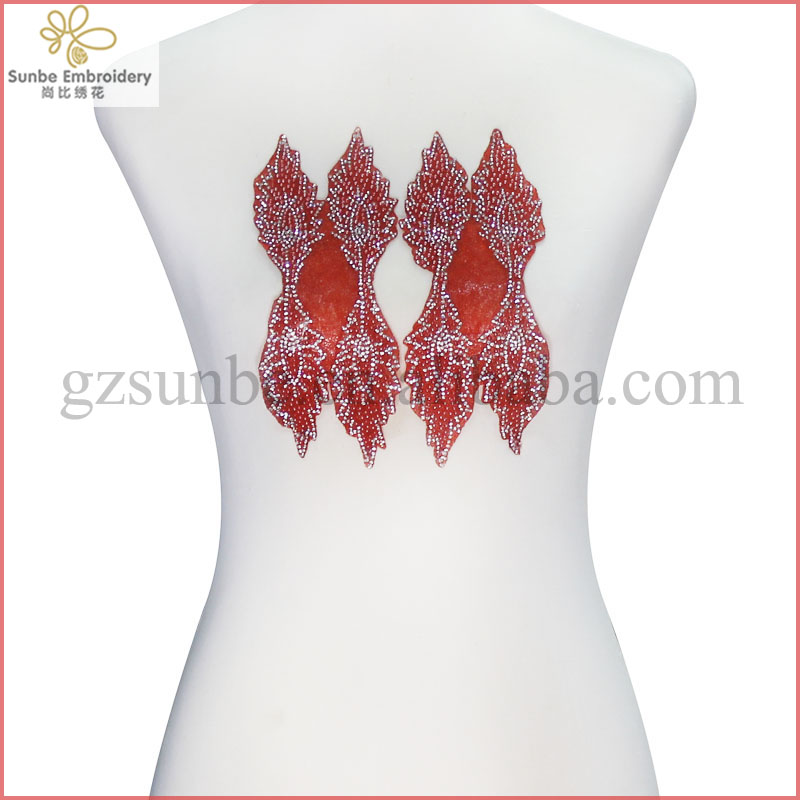 Pair Leaves Red Beads Crystal Applique Iron on Patches Hot Fix Rhinestones Embelishment Motif DIY Design Craft can be customized