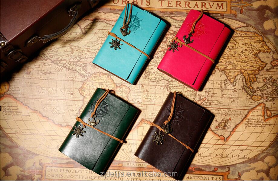 vintage notebook retro style Vintage travel journal leather refillable notebook craft paper