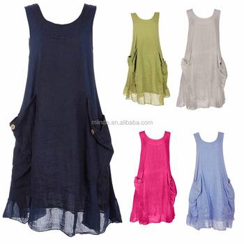 74803f9eb0e Womens Italian Lagenlook Quirky Tunic Sleeveless Ribbed Sides Pockets 100  Linen Fabric Dress