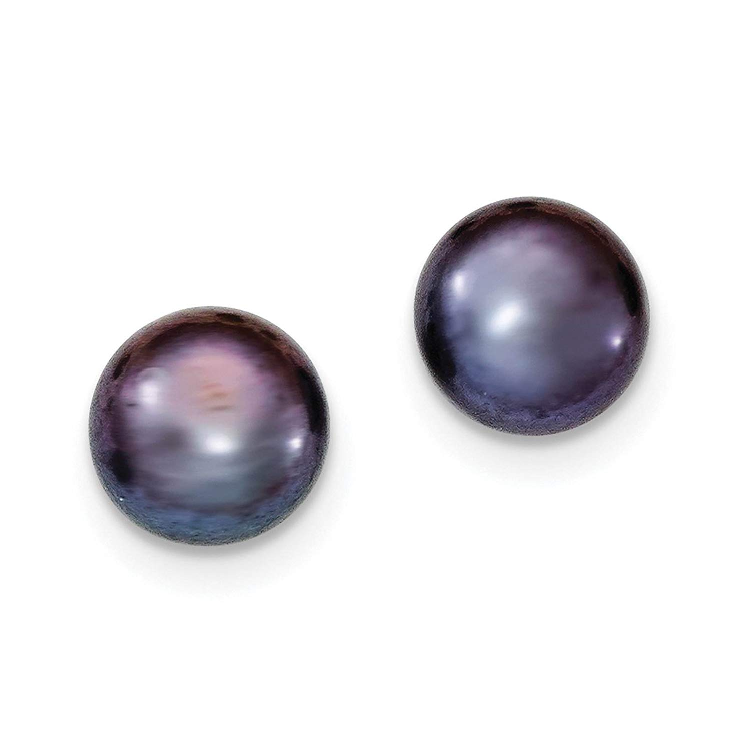 .925 Sterling Silver 10-11mm Black Freshwater Cultured Button Pearl Stud Post Earrings