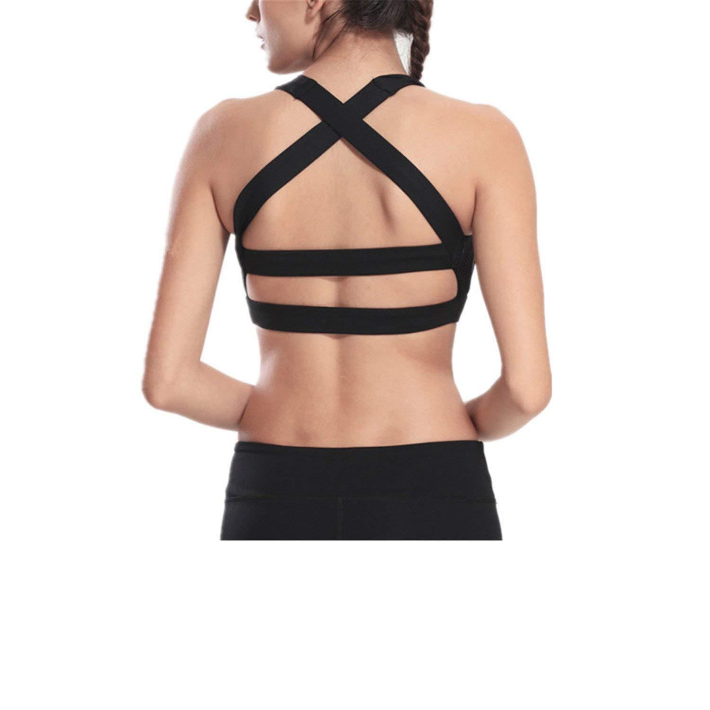 a5a275495e33a Get Quotations · XIAFEIMANTIAN Cross Strap Black Yoga Bra Women Padded Push  Up Sports Bra