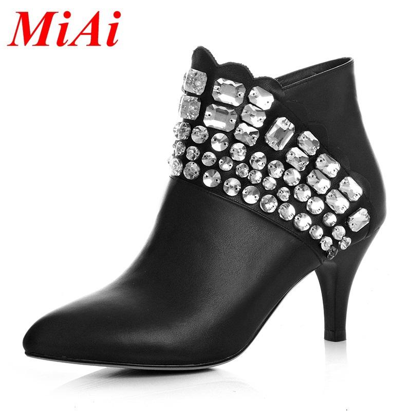 0bd2de027ea3 Get Quotations · 2015 new classic fashion women shoes black diamond  decoration red women ankle boots autumn winter shoes