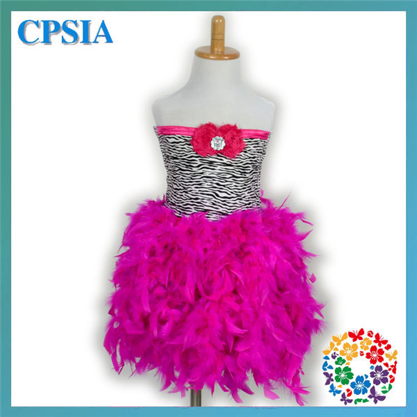 New Fshion Leopard Feather Rose Red Dress For Baby Girl Party Fashion Tutu Feather Dress