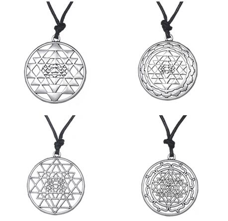 Yiwu factory CHAKRA 3rd eye Hindu goddess yoga sri yantra wiccan pagan punk men rope necklace jewelery