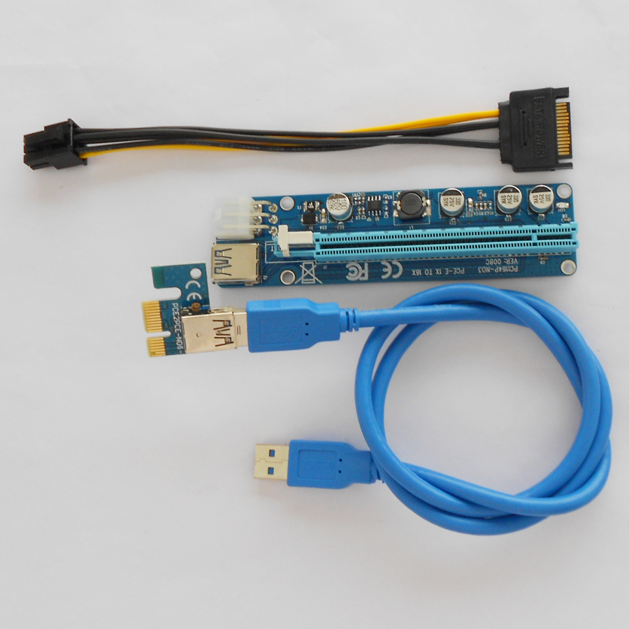 New 60cm Cable 6 Pin Pci-e Pci Express Riser 1x To 16x Usb 3.0 With ...