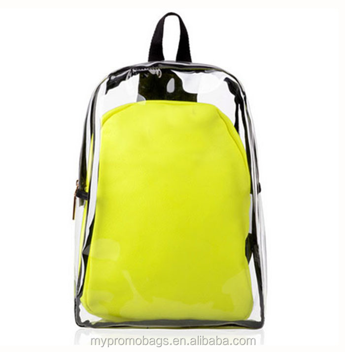 Wholesale fashion clear backpack bags backpack transparent with inside bag as set