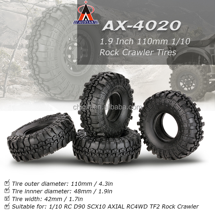 1.9 Inch 110mm 1/10 Rock Crawler Tires for D90 SCX10