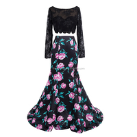 Dressystar 2018 Embroidery Lace long Sleeve Floral Print Mermaid Two Piece Prom Dress