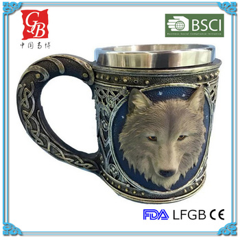 fancy stainless steel cup wolf head mug