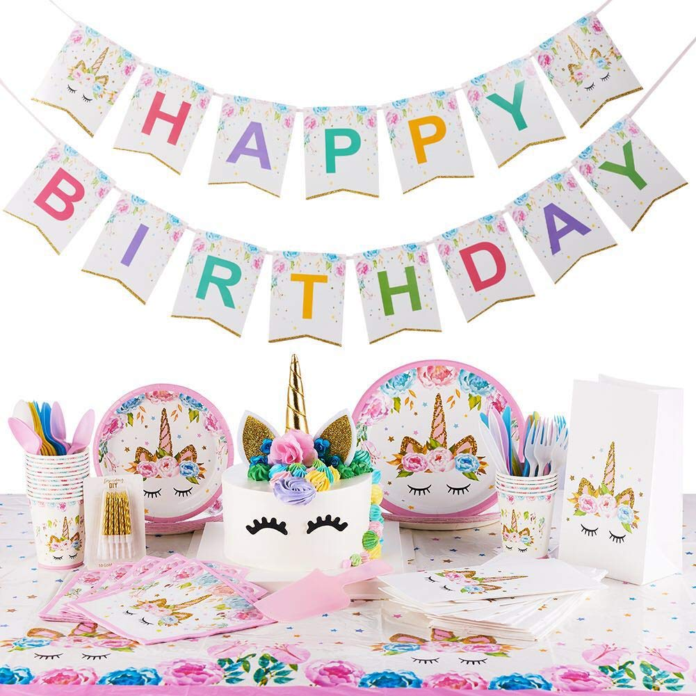 Unicorn Party Supplies Kit Serves 16 Unicorn Birthday Party Supplies Happy Birthday Banner Cake Topper Cake Cutter Candles