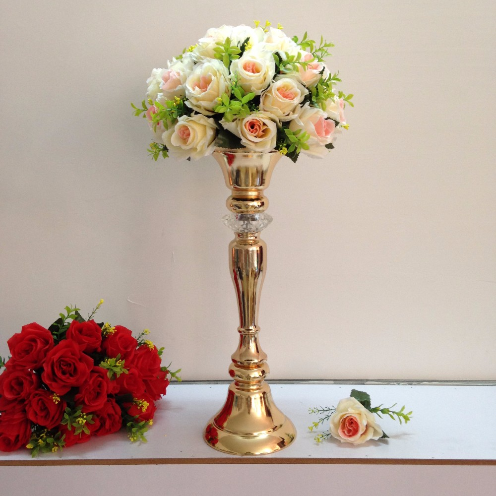 48cm Tall Golden Flower Vase European Style Wedding