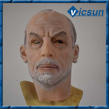 bald old man latex mask realistic white hair and white beard mask