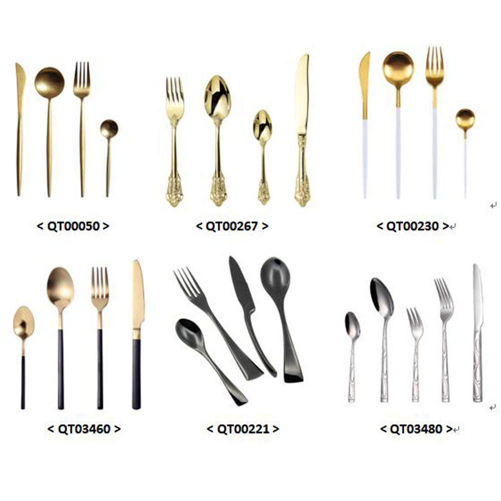 QT00014 high quality cheap stainless steel plated flatware rose gold cutlery set