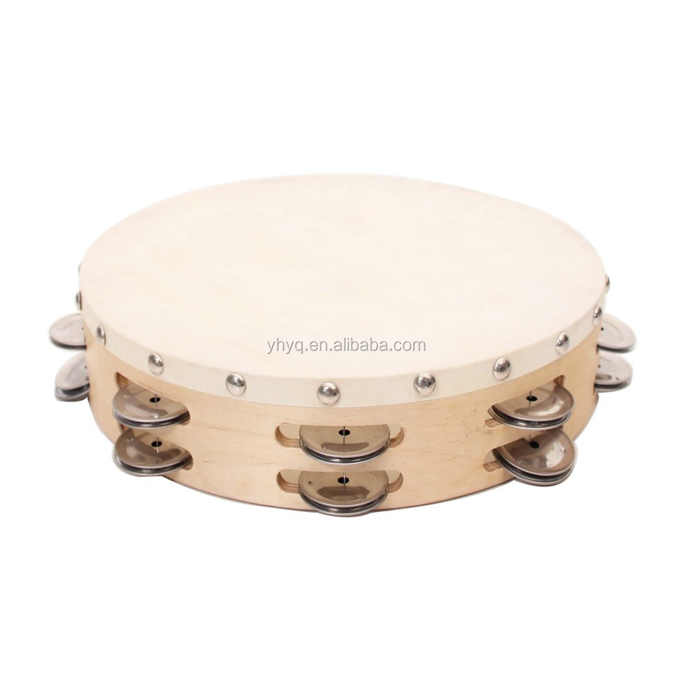 "TH10-16 Double Row 10"" Tambourine With Goat Skin Head ..."