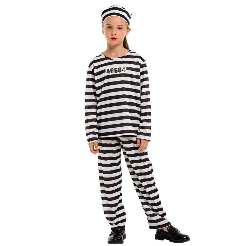 Best Price Polyester Halloween Party 4-12 years Old Girl Prisoner Party Dress Carnival Costume For Child