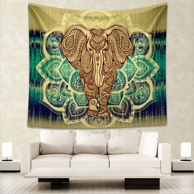Vintage Indian Elephant Mandala Hippie Wall Hanging Tapestry Home Decor Throw Towel Yoga Mat Gypsy Bedspread 150*130cm