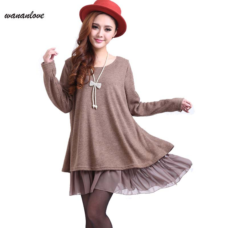 New Fashion Plus size women clothing 3XL 4XL autumn winter dress for women Knitted Dress O-Neck Sexy party  Dresses AA275