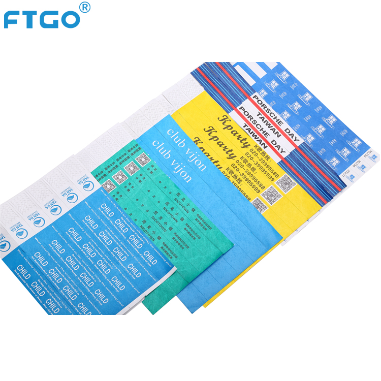 FTGO waterproof Tyvek entertainment wristbands for events ODM