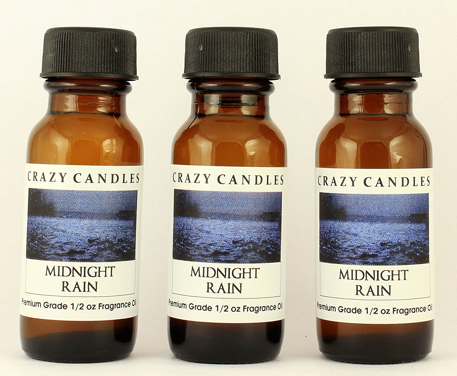 Midnight Rain 3 Bottles 1/2 Fl Oz Each (15ml) Premium Grade Scented Fragrance Oil By Crazy Candles (Fresh Air Scented with Musk)